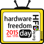 Logo de Hardware Freedom Day. Es una tele